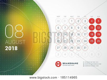 August 2018. Desk Calendar For 2018 Year. Vector Design Print Template With Place For Photo. Week St