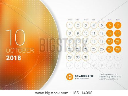 October 2018. Desk Calendar For 2018 Year. Vector Design Print Template With Place For Photo. Week S