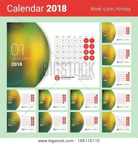 Desk Calendar For 2018 Year. Vector Design Print Template With Place For Photo. Week Starts On Monda