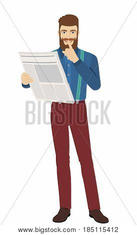 Hush hush. Hipster with newspaper showing hush-hush sign. Full length portrait of hipster character in a flat style. Vector illustration.