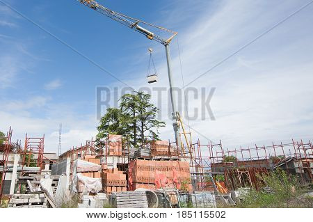 Small Construction Site With Houses Under Construction.