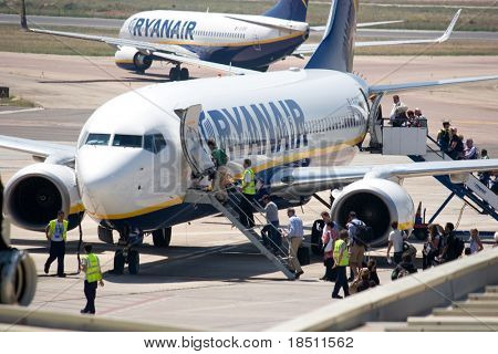 VALENCIA, SPAIN - MAY 18: Ryanair says that it will reimburse expenses for passengers stranded during the mass shutdown of European airspace.  A Ryanair Aircraft on May 18, 2010 in Valencia, Spain.