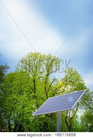 Solar cell generated electrical power by sun light Closeup of blue photovoltaic solar panels Green energy for safe world power supply and generated electrical power to battery
