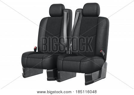 Car seat modern black with seatbelt. 3D rendering