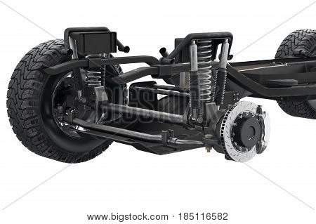 Chassis frame suspension brake disk, close view. 3D rendering