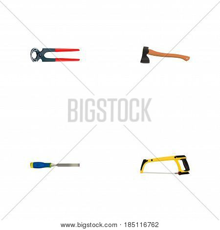 Realistic Tongs, Carpenter, Hatchet And Other Vector Elements. Set Of Tools Realistic Symbols Also Includes Pliers, Tool, Hacksaw Objects.