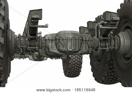Truck military undercarriage chassis frame, close view. 3D rendering
