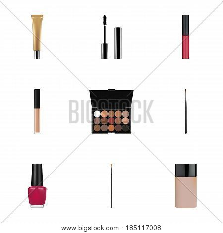 Realistic Cover, Concealer, Eyelashes Ink And Other Vector Elements. Set Of Cosmetics Realistic Symbols Also Includes Palette, Makeup, Ink Objects.