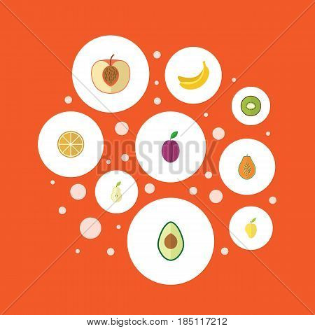 Flat Exotic Dessert, Apricot, Jungle Fruit And Other Vector Elements. Set Of Dessert Flat Symbols Also Includes Duchess, Exotic, Citrus Objects.