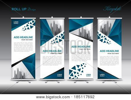 Blue and white Roll Up Banner template design on polygon background Business flyer display vector banner layout advertisement j-flag pull up x-banner flag-banner abstract geometric stand