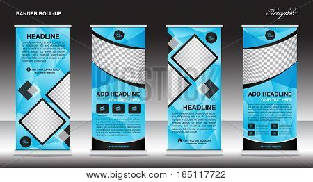 Blue Roll up banner template banner design advertisement business flyer polygon background vector illustration display x-banner flag-banner presentation poster abstract geometric