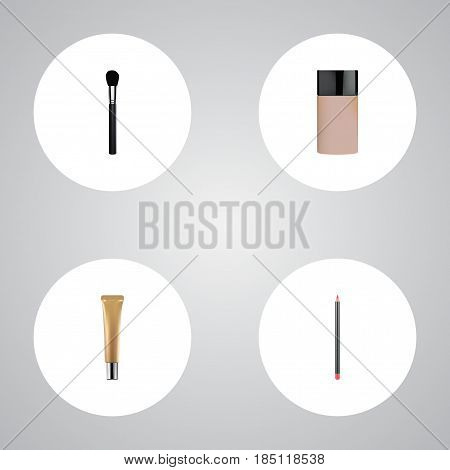 Realistic Concealer, Beauty Accessory, Collagen Tube And Other Vector Elements. Set Of Cosmetics Realistic Symbols Also Includes Powder, Brush, Foundation Objects.