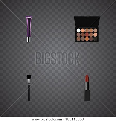 Realistic Multicolored Palette, Pomade, Day Creme And Other Vector Elements. Set Of Cosmetics Realistic Symbols Also Includes Tassel, Pomade, Creme Objects.