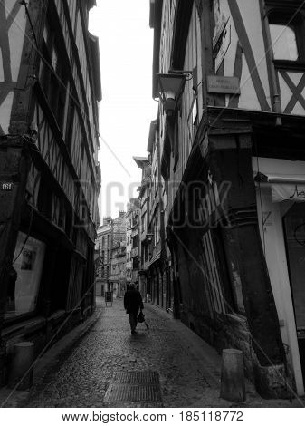 Timbered building from the middle age in the city center of Rouen (France)