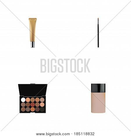 Realistic Concealer, Collagen Tube, Contour Style Kit And Other Vector Elements. Set Of Maquillage Realistic Symbols Also Includes Collagen, Brow, Foundation Objects.