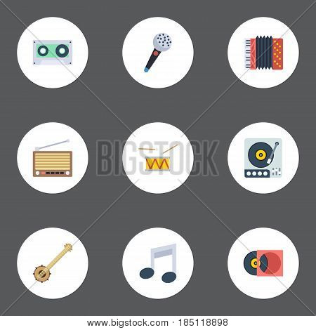 Flat Tape, Turntable, Harmonica And Other Vector Elements. Set Of Music Flat Symbols Also Includes Cassette, Turntable, Drum Objects.