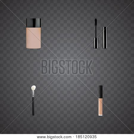 Realistic Concealer, Powder Blush, Eyelashes Ink And Other Vector Elements. Set Of Maquillage Realistic Symbols Also Includes Ink, Skincare, Lipstick Objects.