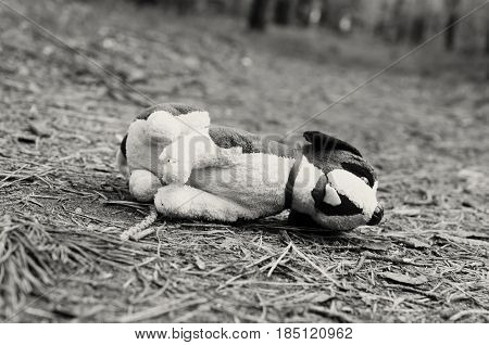 Missing child. Abandoned toy Loneliness Sadness Lost