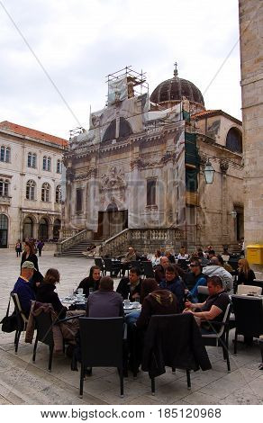 26 march 2009-Dubrovnick-croazia-View of the central square of Dubrovnick in croatia