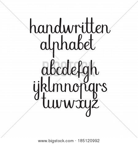 Handwritten vector alphabet. Hand drawn modern calligraphy letters. Ink illustration. Handwritten calligraphy font.