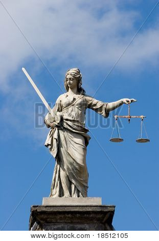 Statue of Lady Justice at Dublin Castle in Dublin, Ireland