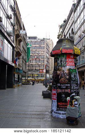 21 march 2009-belgrado-serbia-Main street of Belgrade city in serbia