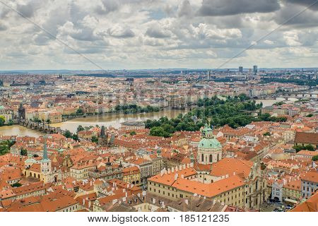 High angle panoramic view of Prague one of Europes premier tourist destinations.