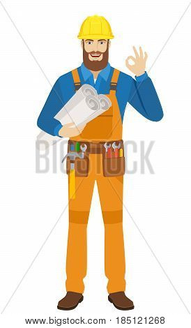 Worker holding the project plans and showing a okay hand sign. Full length portrait of worker character in a flat style. Vector illustration.