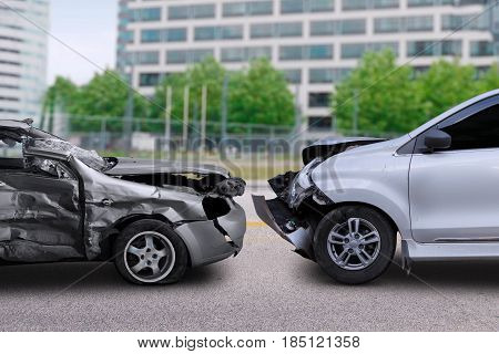Image of two cars in collision on the road. Concept of car accident