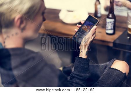 Woman Use Mobile Phone Connection Social Network