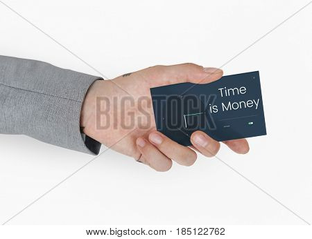 Hand holding business card with time and clock icon