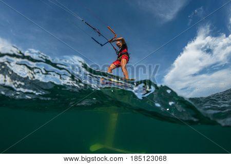 Kite surf ride his hydrofoilkite
