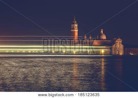 Church of San Giorgio Maggiore by night Venice Italy.