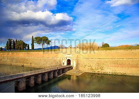 The Fortress and the external fortifications of Peschiera del Garda Veneto Italy. Garda Lake.