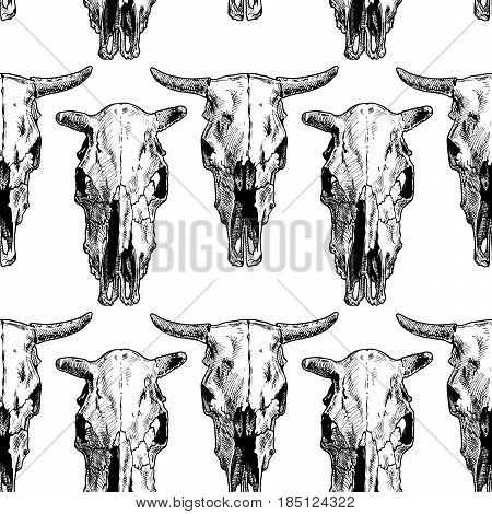 vector black-and-white seamless pattern with cow and bull skull. illustration background in ink hand drawn style.