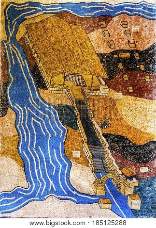 BETHANY, JORDAN - NOVEMBER 28, 2016 Jesus Baptism Site Mosaic John Baptist Bethany Beyond Jordan. Actual baptism site of Jesus. Jordan River Moved and Ruins are of Byzantine Churches marking spot of baptism. Rediscovered late 1990s and early 2000.