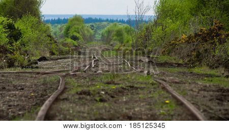a bent train track on a bog in Ireland