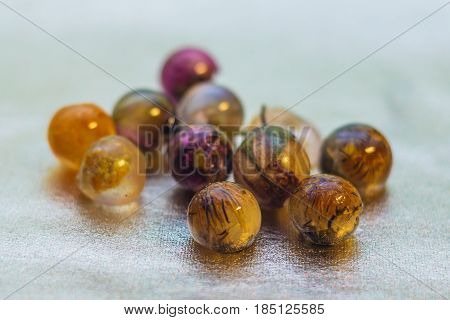 Ball Shaped Crystals Made Of Epoxy Resin And Glitters