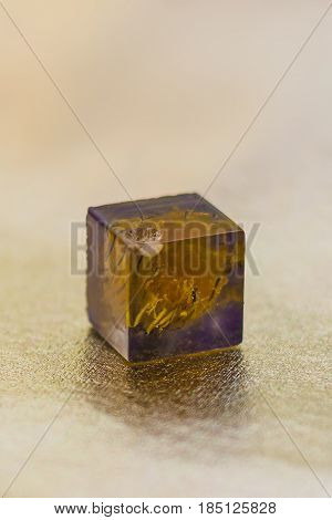 Crystal With Flower Made Of Epoxy Resin Close-up