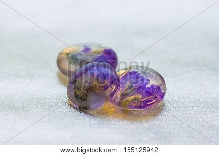 Crystals With Limonium Made Of Epoxy Resin