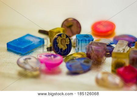 Many Crystals Made Of Epoxy Resin Close-up