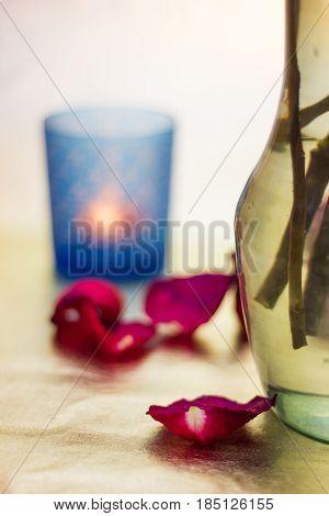 Pink Rose Petals And Candlestick