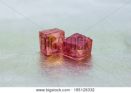 Two Pink Crystals Made Of Epoxy Resin