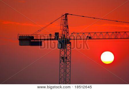 Construction Crane at Sunset