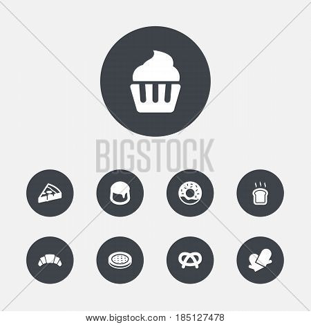 Set Of 9 Cook Icons Set.Collection Of Doughnut, Snack, Muffin And Other Elements.