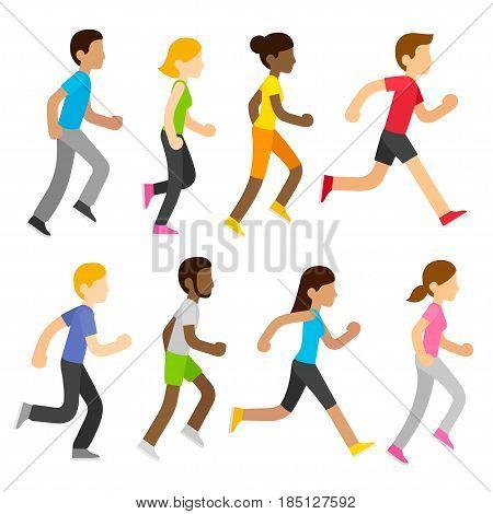 Group of diverse marathon runners in modern flat cartoon style. Sports race vector people illustration set.