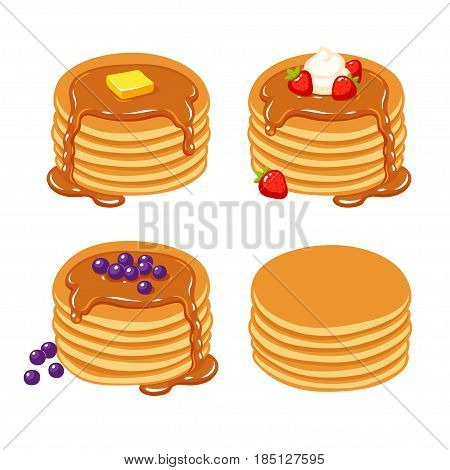 Set of traditional breakfast pancakes with berries syrup butter and plain. Beautiful realistic vector illustration.
