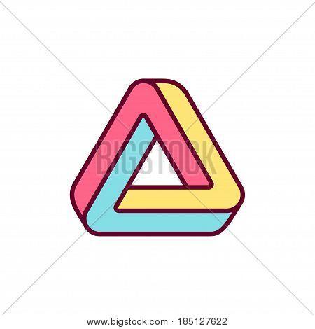 Penrose trialngle icon. Impossible geometric shape bright color logo design vector illustration.