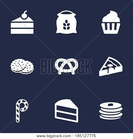 Set Of 9 Bakery Icons Set.Collection Of Striped Lollipop, Crepe, Sweetmeat And Other Elements.