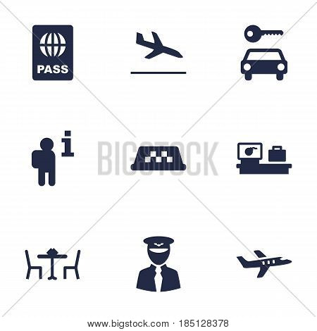 Set Of 9 Aircraft Icons Set.Collection Of Luggage Check, Letdown, Restaurant And Other Elements.